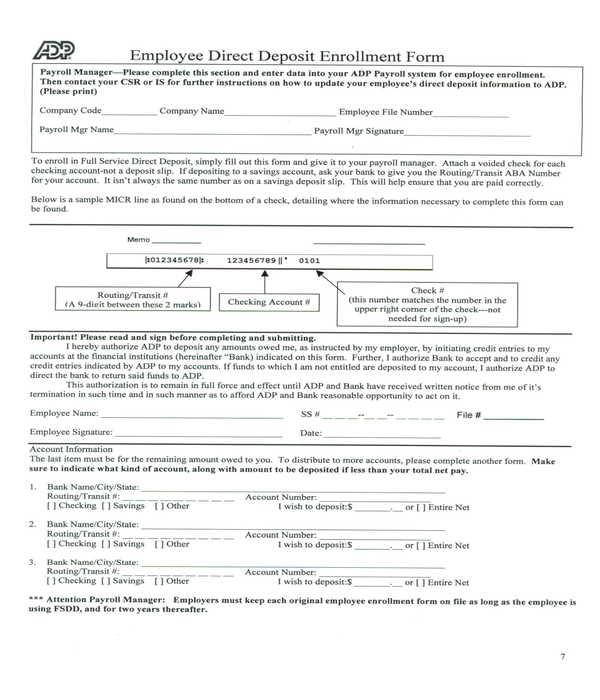 adp employee direct deposit enrollment form