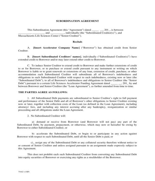 accelerator subordination agreement form