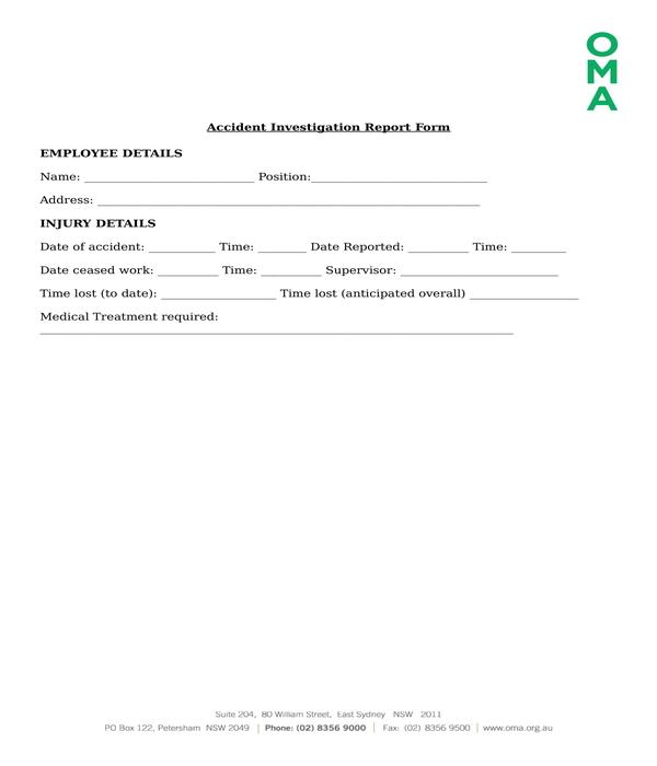 accident investigation report form