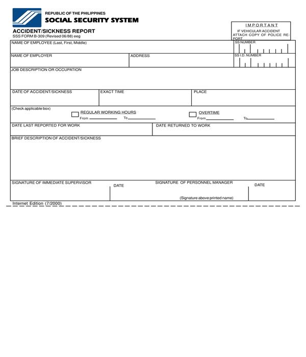 accident sickness report form