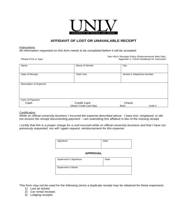 affidavit of lost receipt form