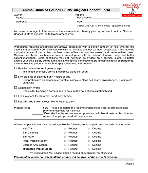 animal clinic surgical consent form