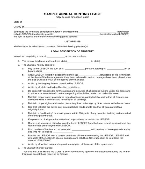 annual hunting lease agreement form