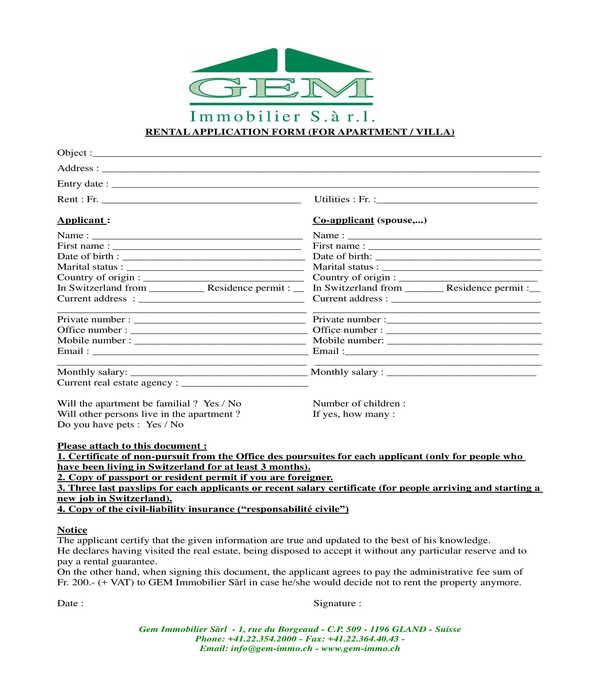 apartment and villa rental application form