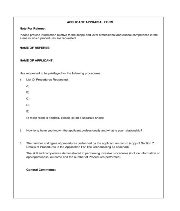 applicant appraisal form sample
