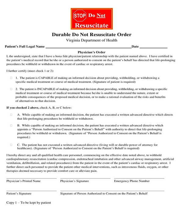 authorized durable do not resuscitate order form