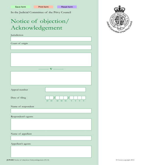automated notice of objection form
