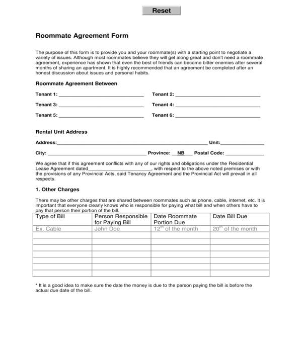 automated roommate agreement form