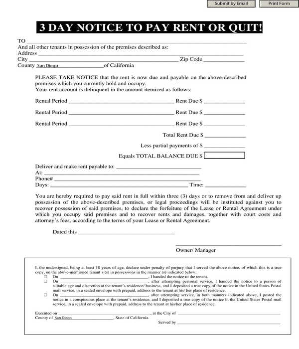 automated three day notice to pay rent or quit form