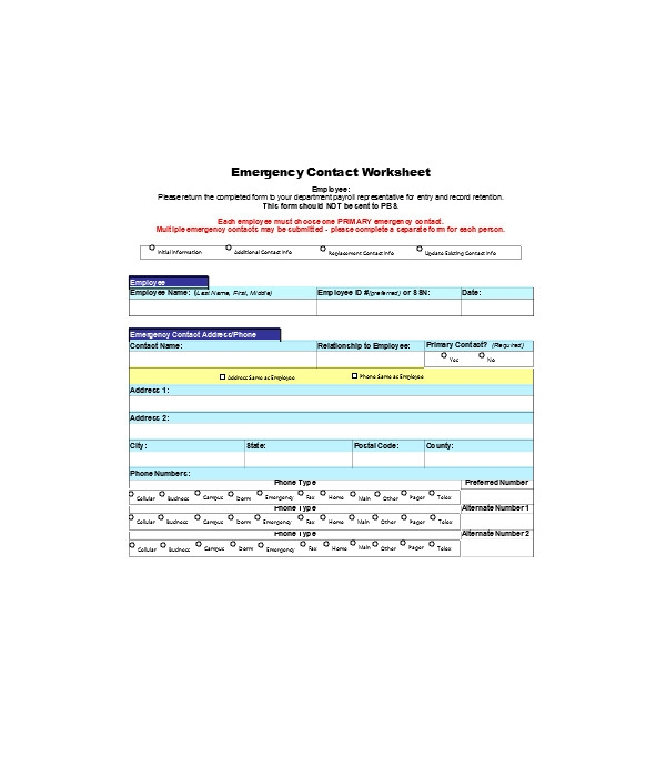 basic emergency contact information form