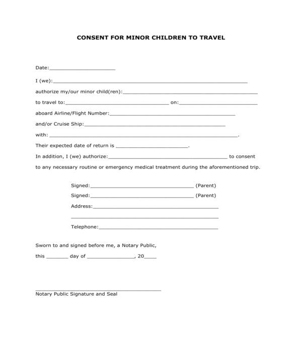 basic minor children travel consent form