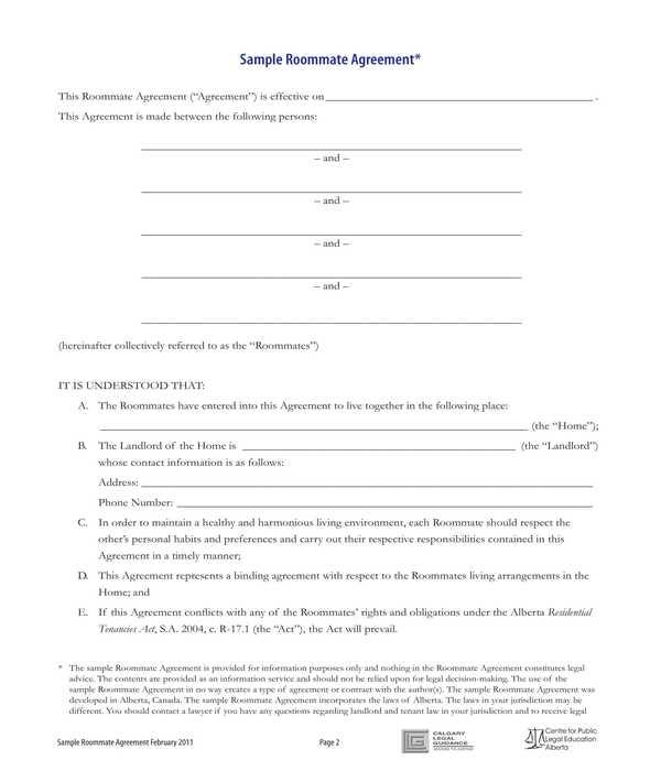 basic roommate agreement form