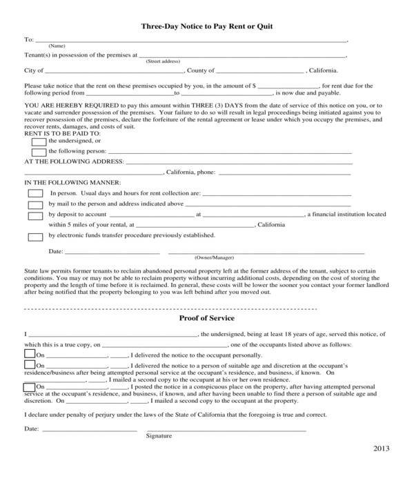 basic three day notice to pay rent or quit form