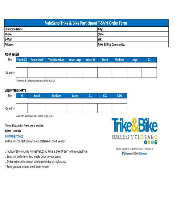 bike participant t shirt order form
