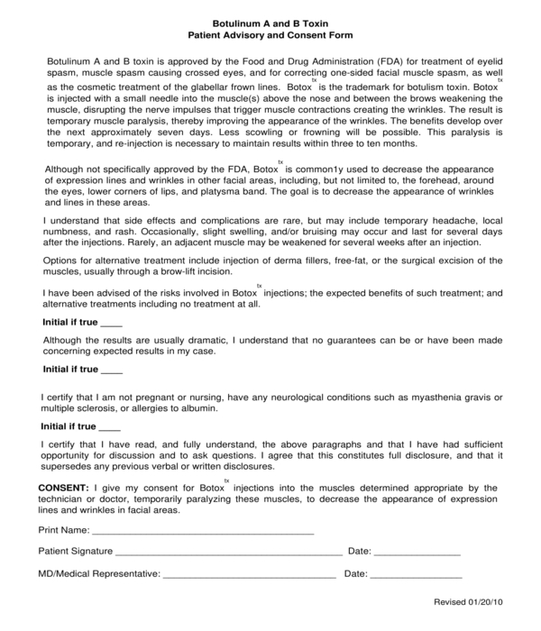 botox patient advisory and consent form