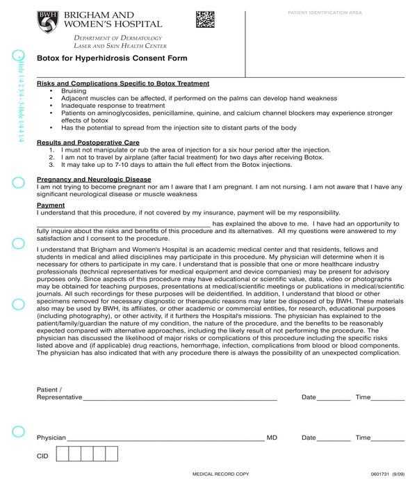 botox for hyperhidrosis consent form