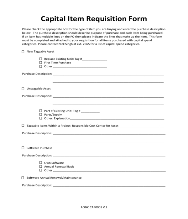 capital item requisition form