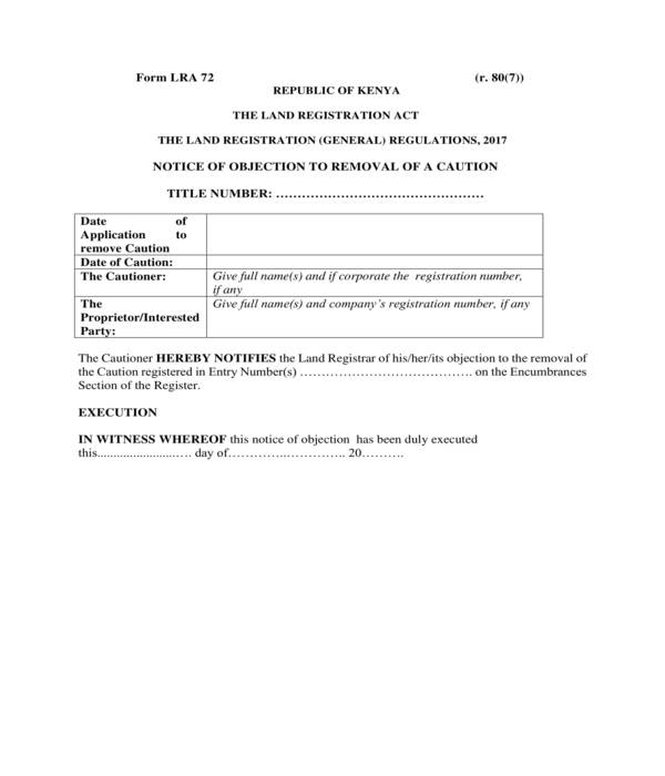 caution removal notice of objection form