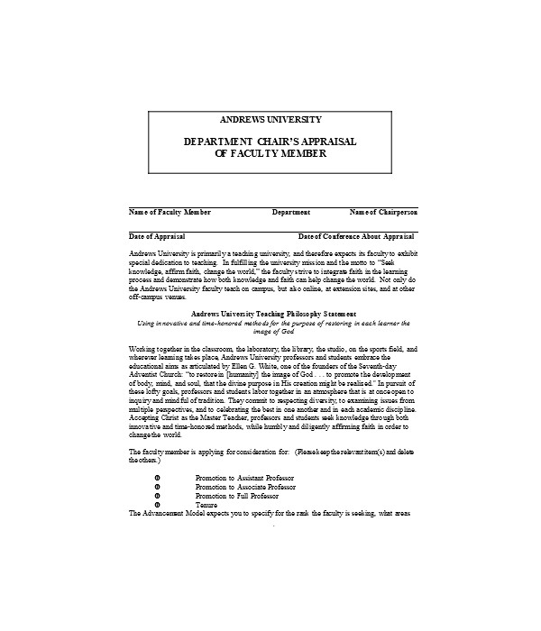 chair appraisal of applicant form