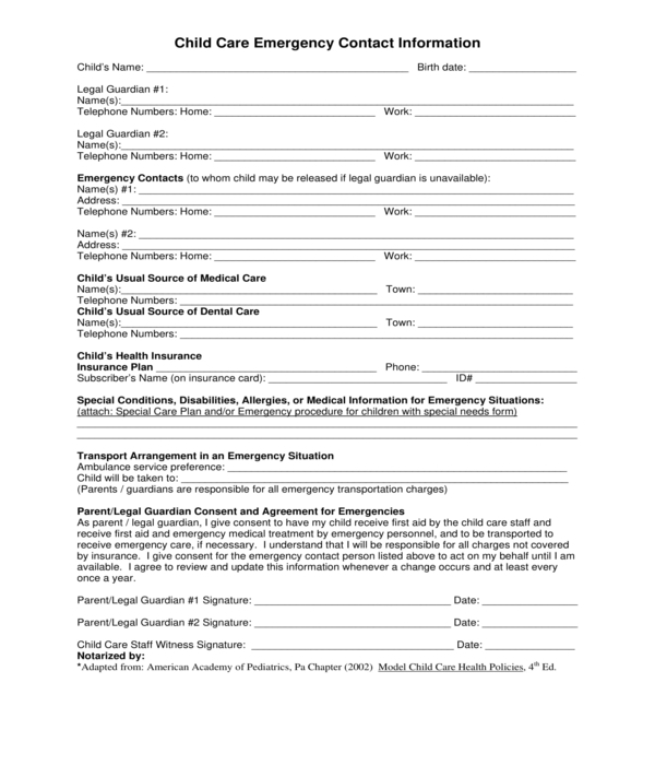 child care emergency contact information form