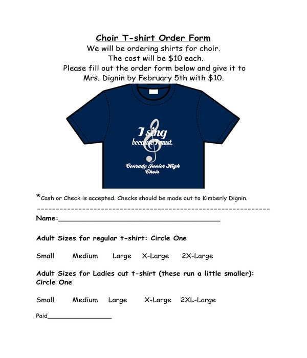 choir t shirt order form