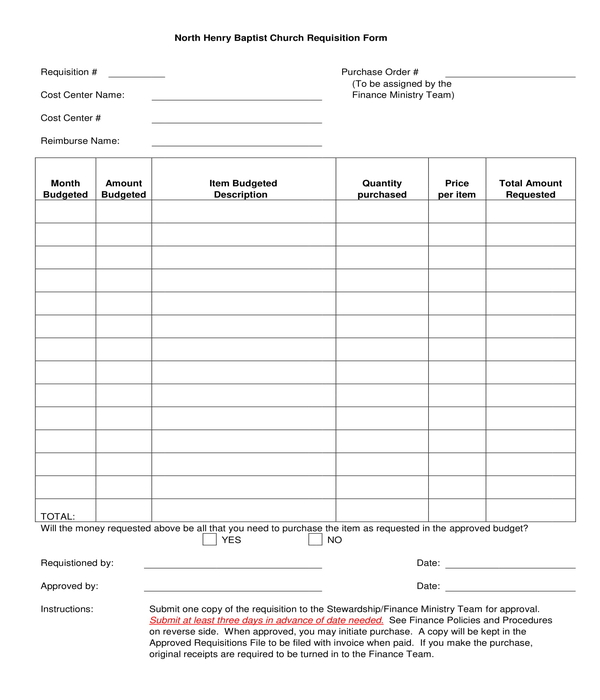 church requisition form