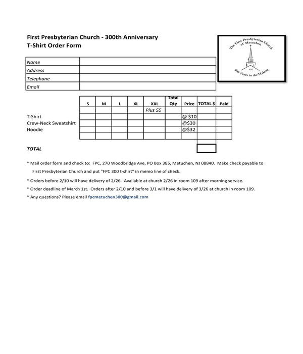 Free 10 T Shirt Order Forms In Pdf Doc