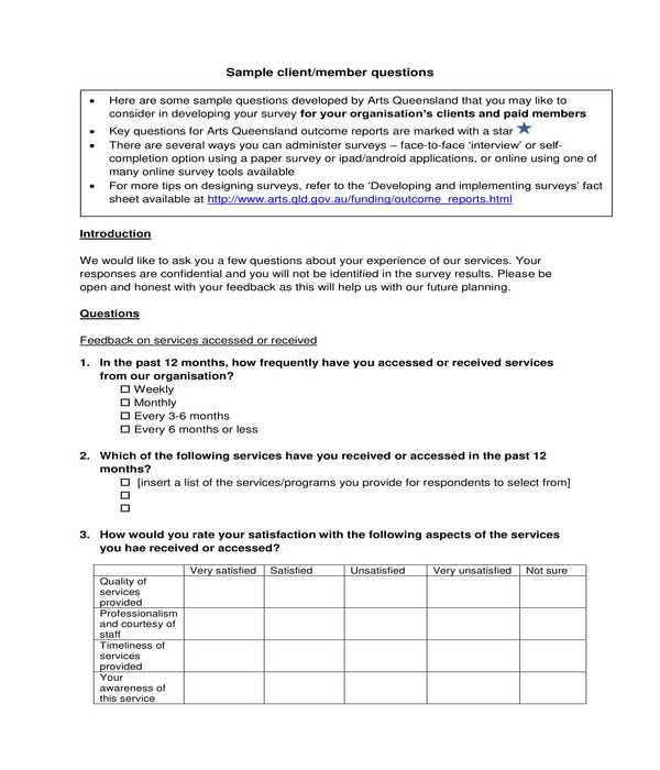 client member survey questionnaire form