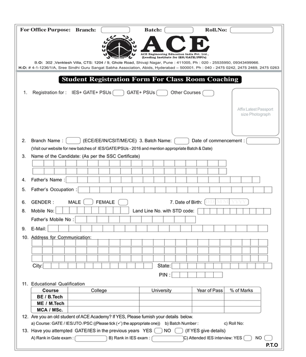 coaching student registration form