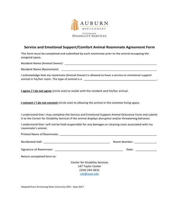 comfort animal roommate agreement form