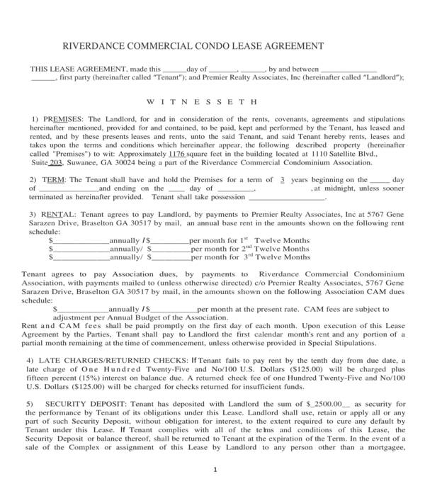 commercial condo lease agreement form