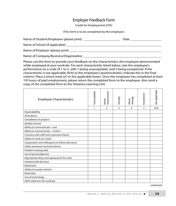 company employer feedback form