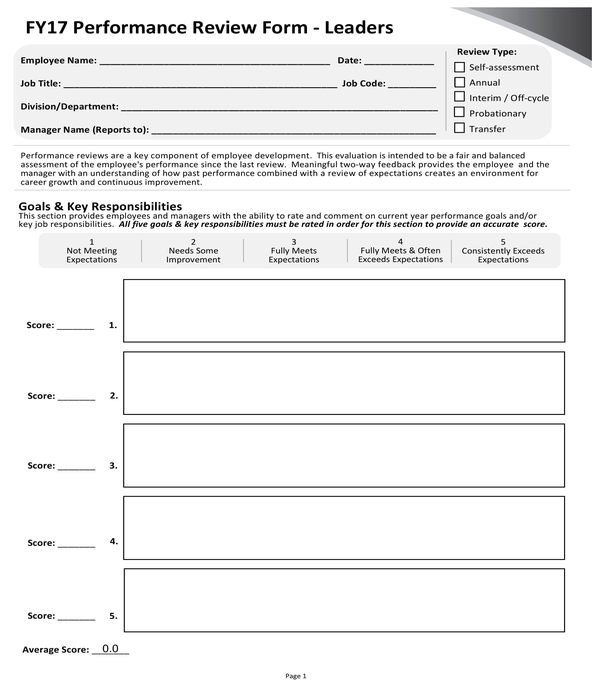 company leaders performance review form