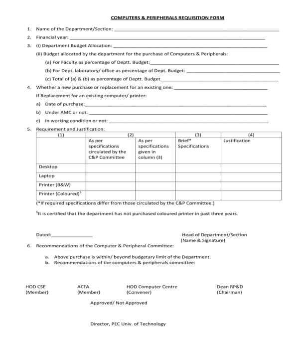 computers and peripherals requisition form