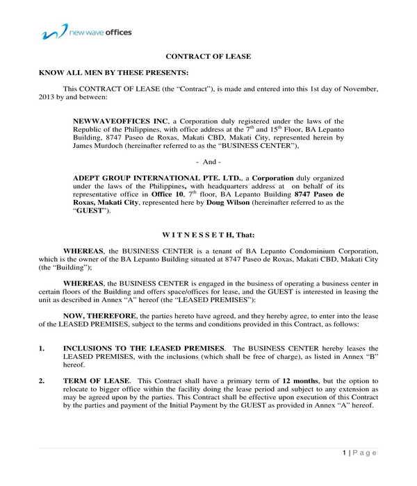 condominium lease contract agreement form sample