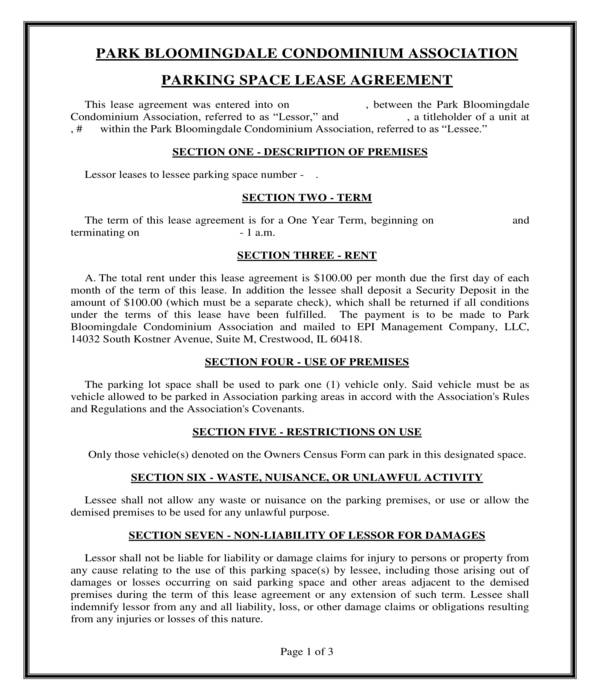 condominium parking space lease agreement form