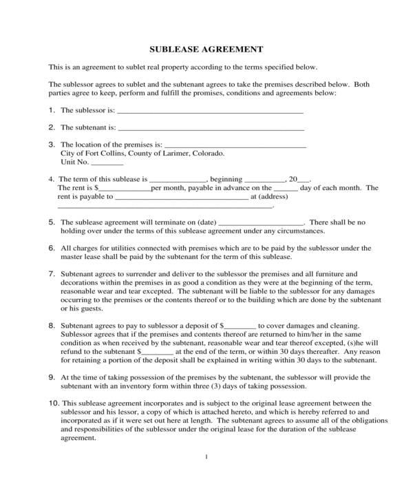 condominium sublease agreement form