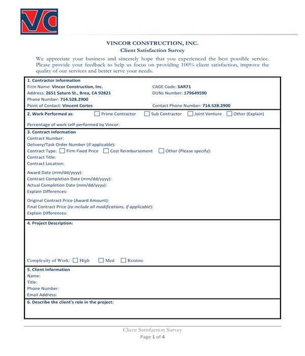 construction client satisfaction survey form