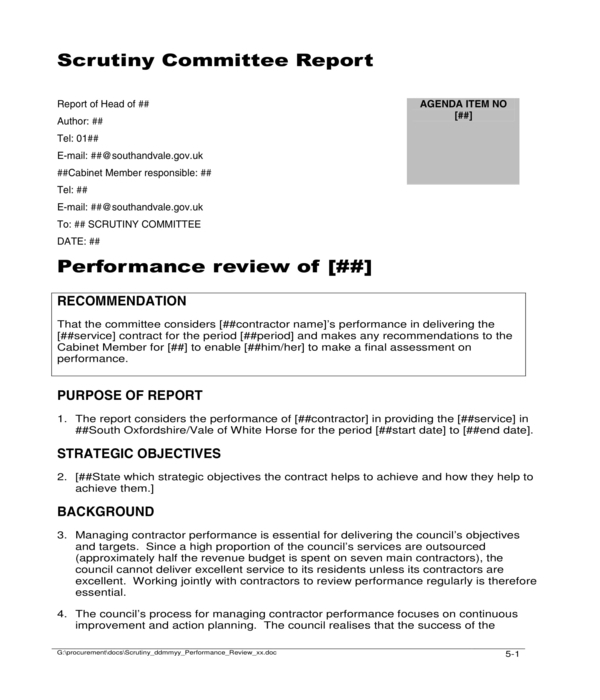 contractor performance review form