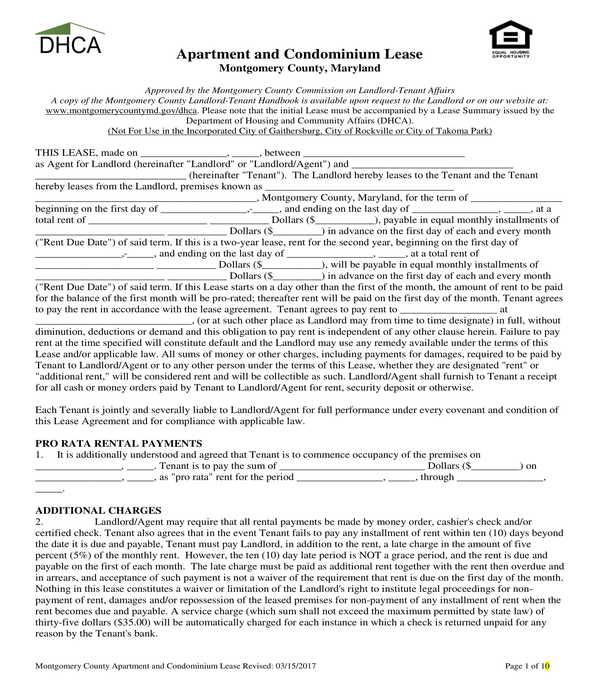 county apartment condominium lease agreement form