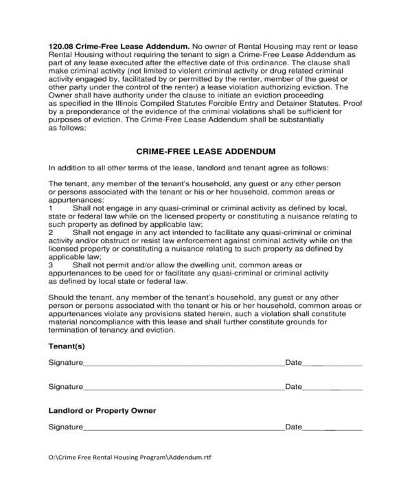 crime free lease addendum form