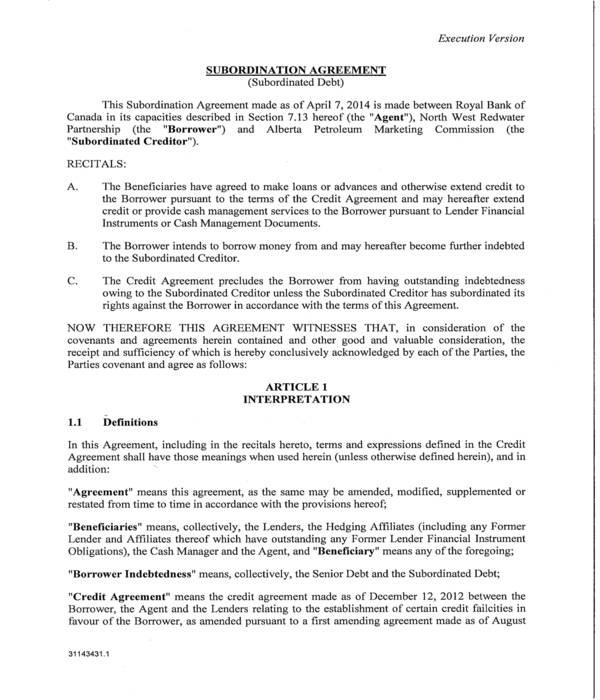 debt subordination agreement form