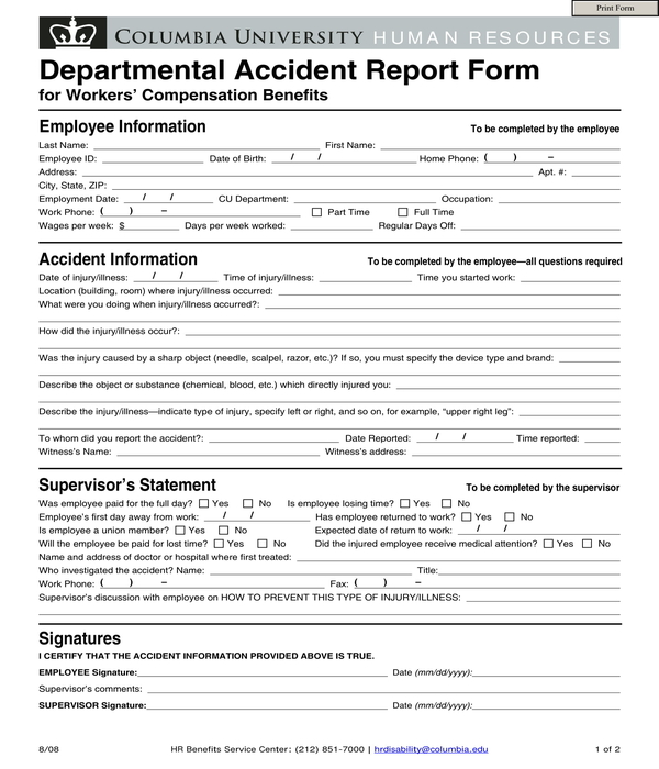 departmental accident report form
