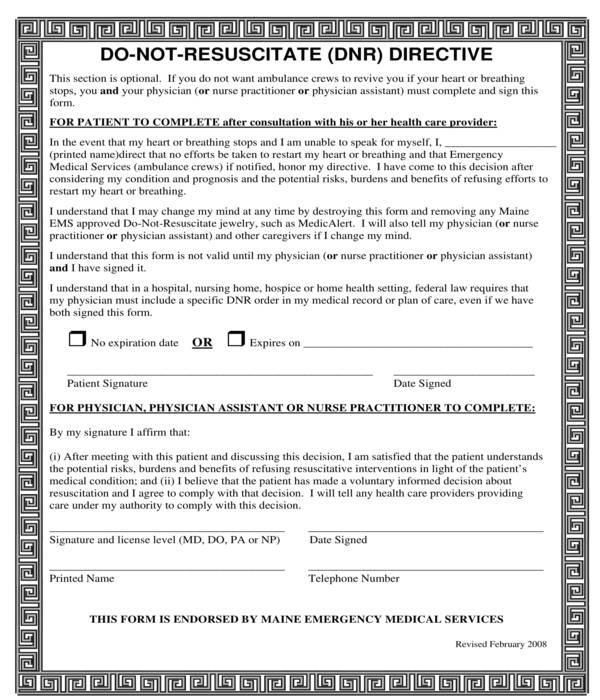 do not resuscitate directive form