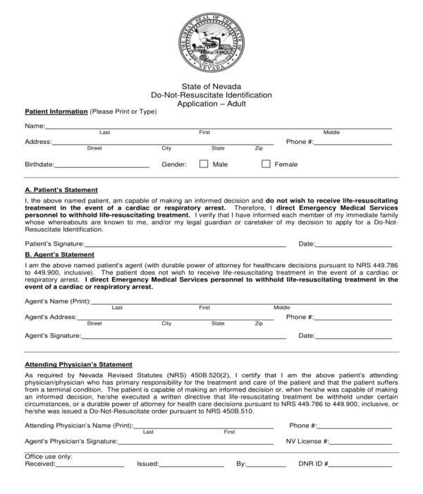 do not resuscitate identification application form