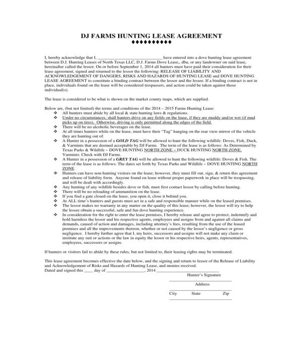 dove hunting lease agreement form