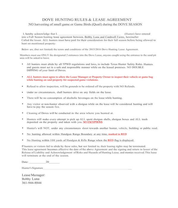 dove hunting rules and lease agreement form