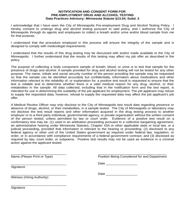 drug alcohol testing consent form in doc