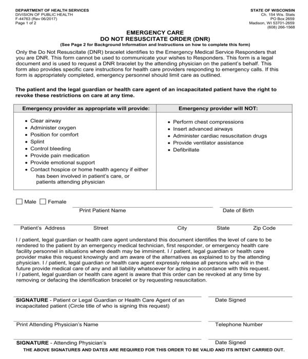emergency care do not resuscitate order form