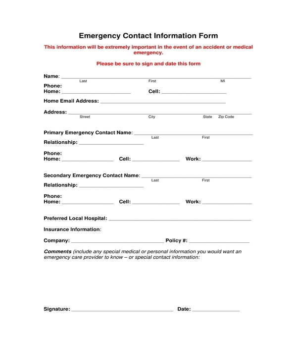 emergency contact information form sample